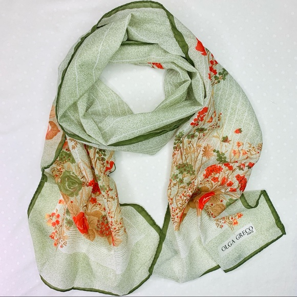 ab0a5e286888a Vintage Accessories | Olga Greco Green Floral Rectangular Scarf ...